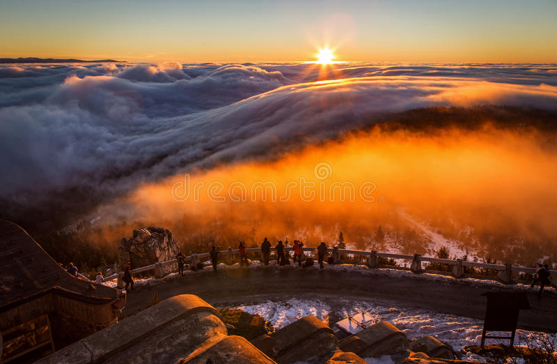 Inversion in the valley at sunset.  royalty free stock images