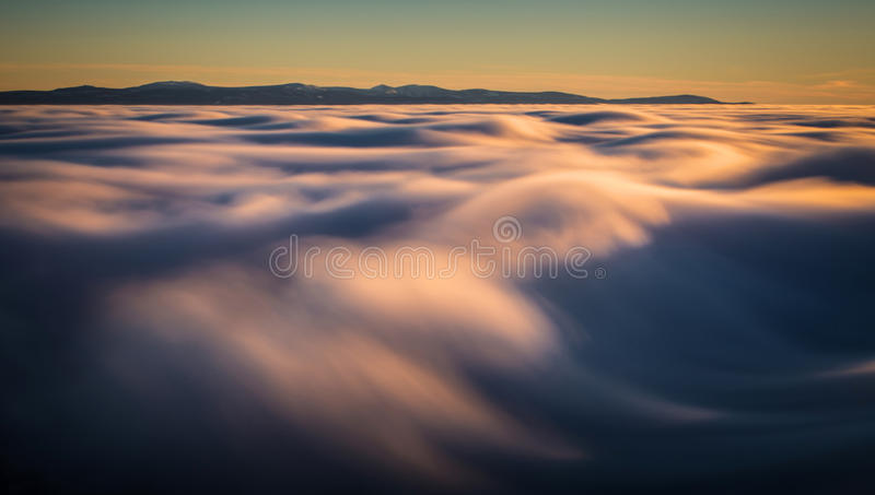Inversion in the valley at sunset.  royalty free stock photography