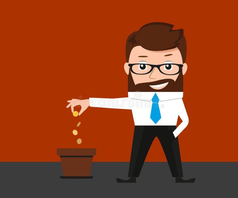 Inversiones afortunadas del hombre de negocios conceptuales ilustración del vector