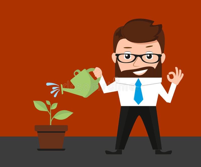 Inversiones afortunadas del hombre de negocios conceptuales libre illustration