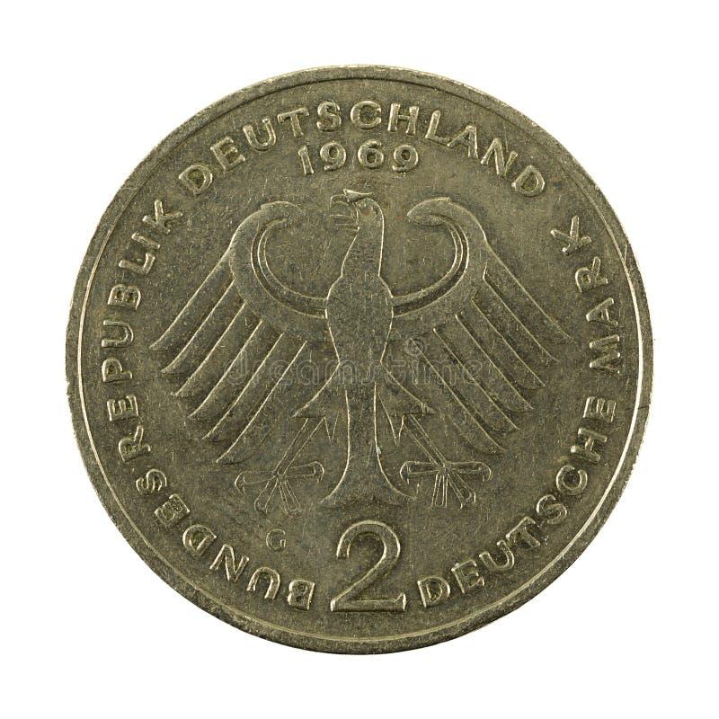 2 inverso della moneta 1969 del marco tedesco fotografia stock