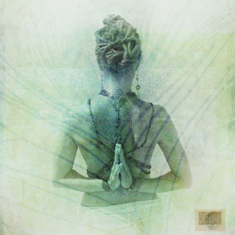Inverso Namaste della donna della piuma di Peacocok immagini stock