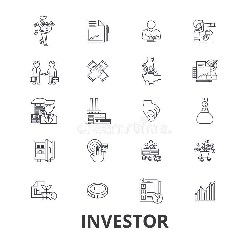 Inversor, inversión, negocio, mercado de acción, finanzas, dinero, hombre de negocios, línea de banco iconos Movimientos Editable stock de ilustración