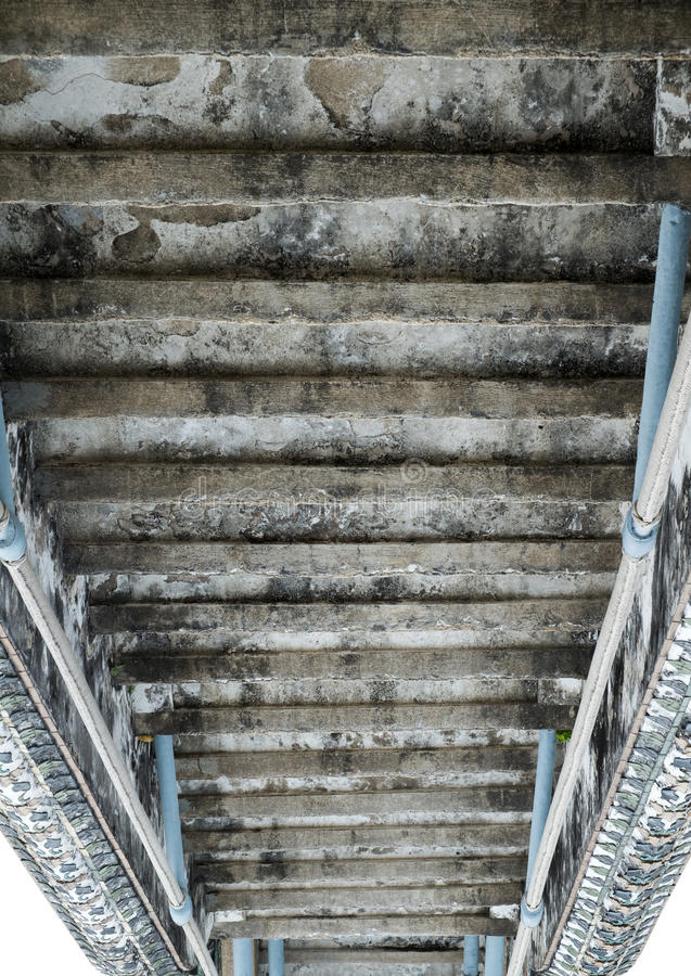 Invert of old cement stairs. On white background royalty free stock images