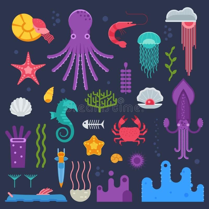 Invertebrados del mar y criaturas subacuáticas exóticas ilustración del vector