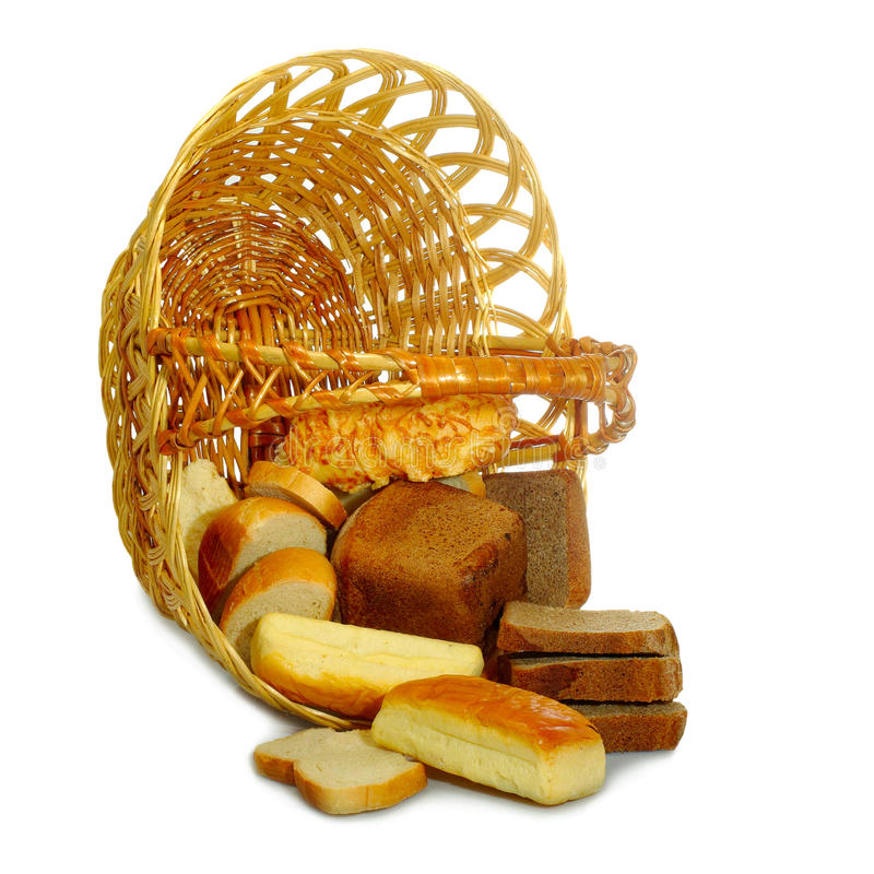 Inverted basket. Isolated image of bread in the basket on a white background royalty free stock photos