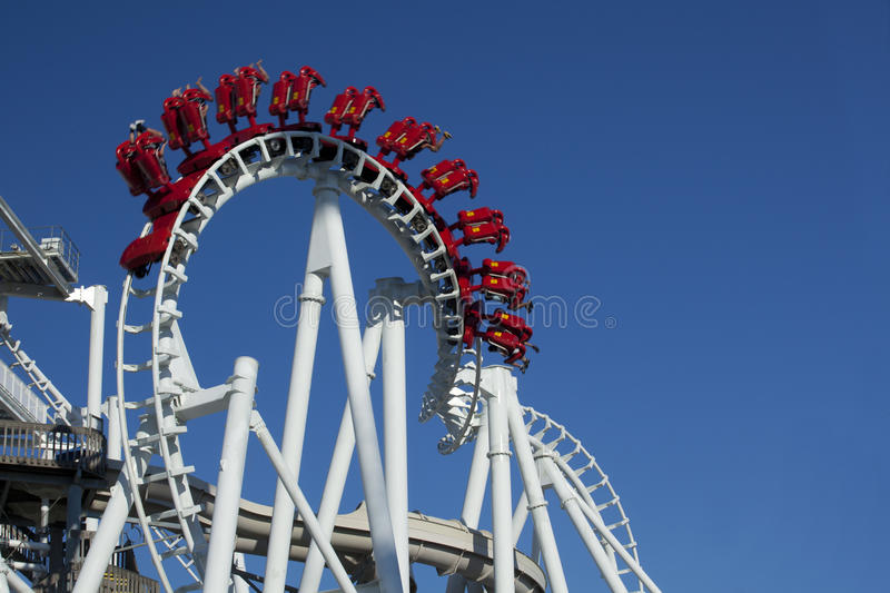 Inverted Hanging Rollercoaster royalty free stock photography