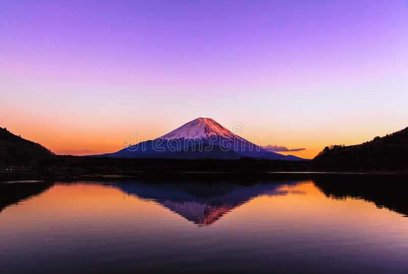 Inverted image of Mt.Fuji at early morning stock photo