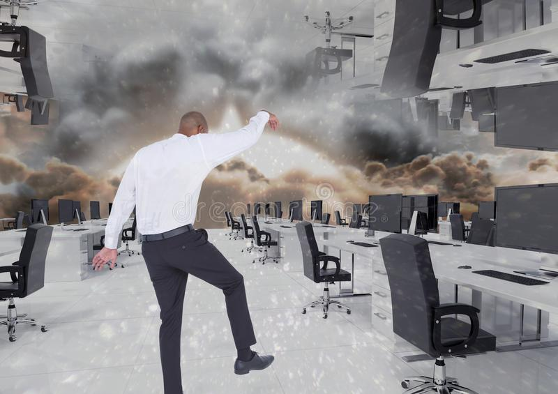 inverted office in the clouds explosion stock image
