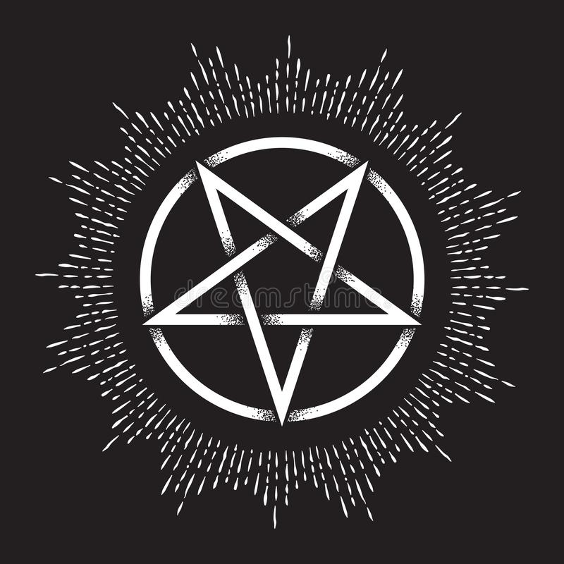 Free Inverted Pentagram Or Pentalpha Or Pentangle. Hand Drawn Dot Work Ancient Pagan Symbol Of Five-pointed Star Vector Illustration. Stock Photography - 136620022