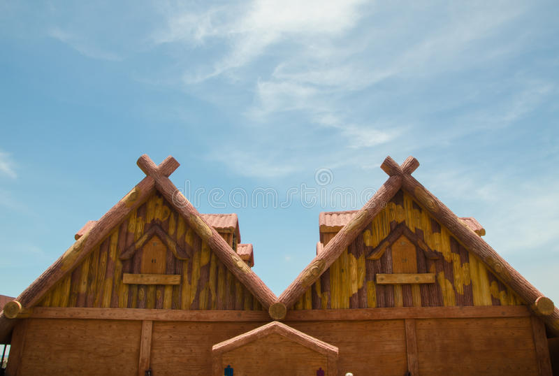 Inverted W type roof in the background of blue sky stock image