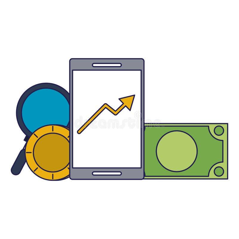 Invesment市场企业portafolio数据蓝线 向量例证