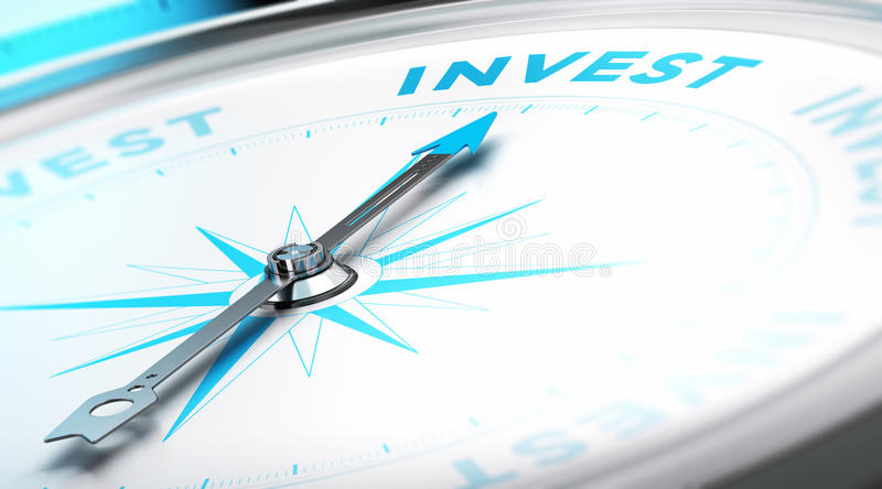 Invest Concept. Conceptual Compass with needle pointing to the word invest. Business background image. Financial concept royalty free illustration