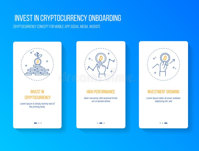 Invest in cryptocurrency and blockchain get high performance profit concept onboarding splashscreen for mobile app. vector illustr vector illustration