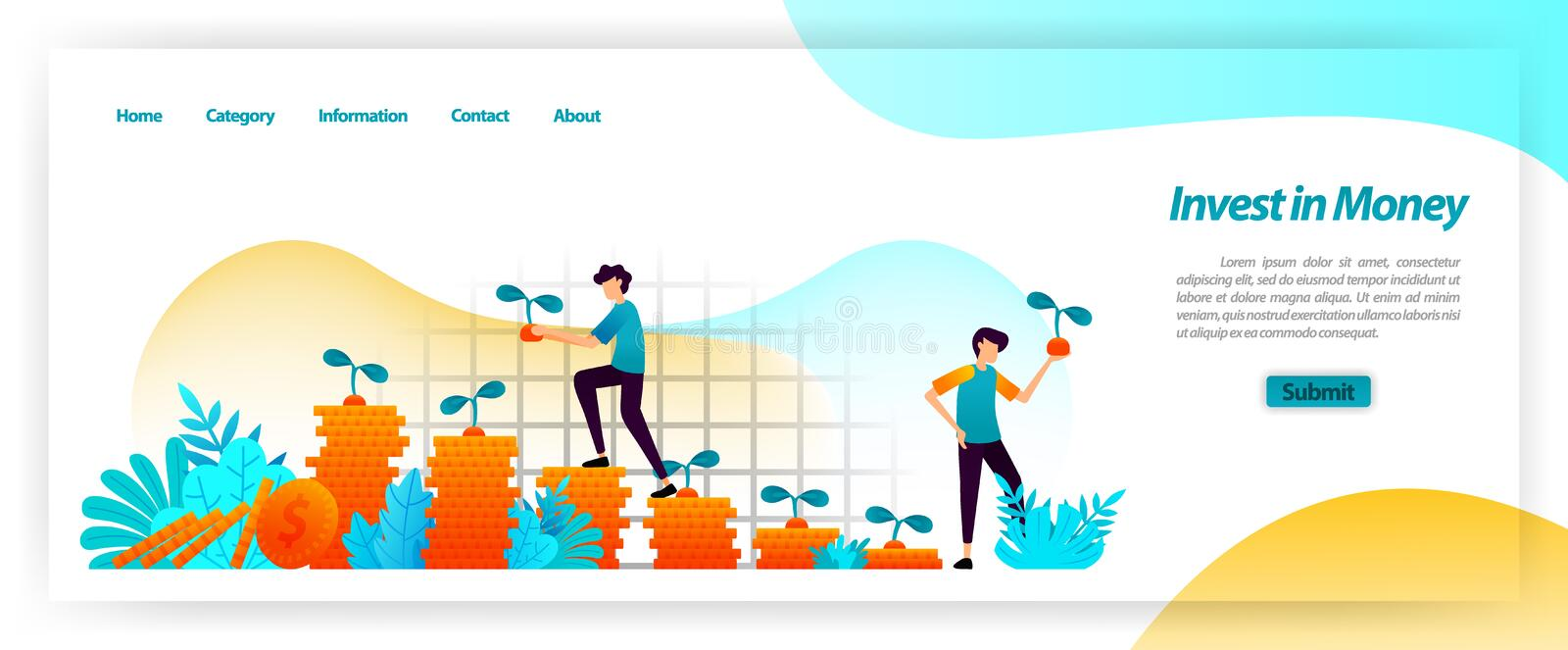 Invest financial cash assets and grow business with planning, loan and capital investments to get a growing profit. vector illustr. Ation concept for landing royalty free illustration