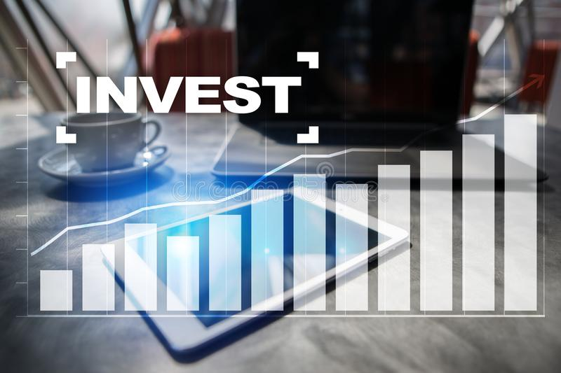 Invest. Return on investment. Financial growth. Technology and business concept. royalty free stock image