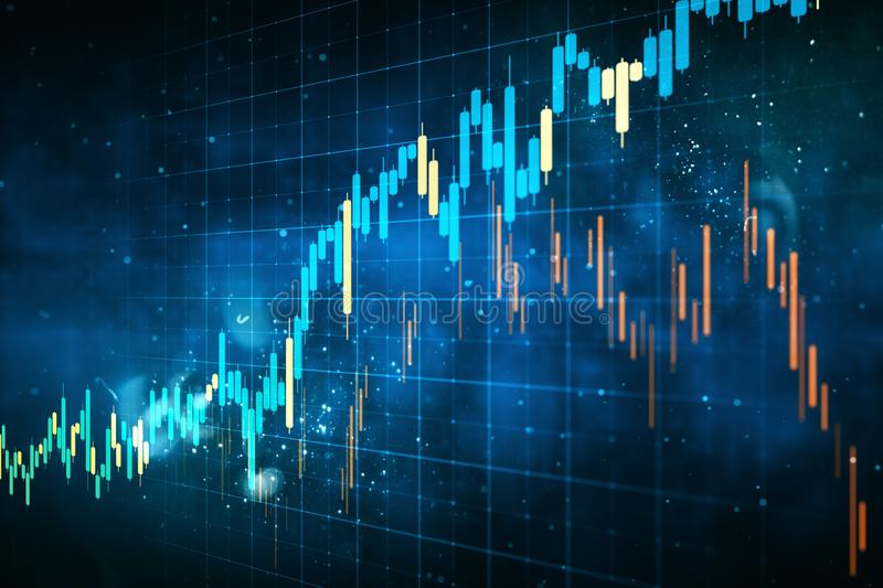Invest and trade concept. Creative forex chart grid sketch on blurry blue background. Invest and trade concept. 3D Rendering stock illustration