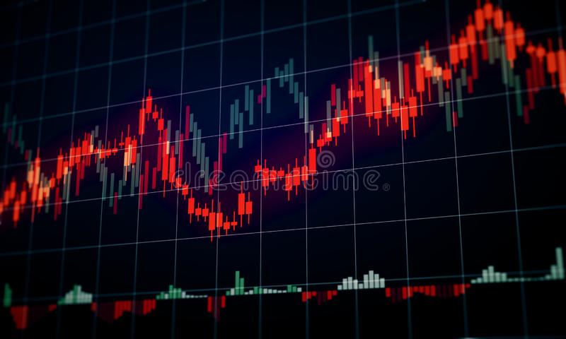 Invest and trade concept. Creative glowing forex chart background. 3D Rendering vector illustration