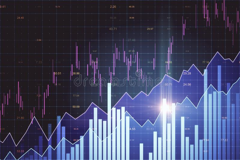 Invest and trade concept. Creative glowing forex chart background. Invest and trade concept. 3D Rendering royalty free illustration