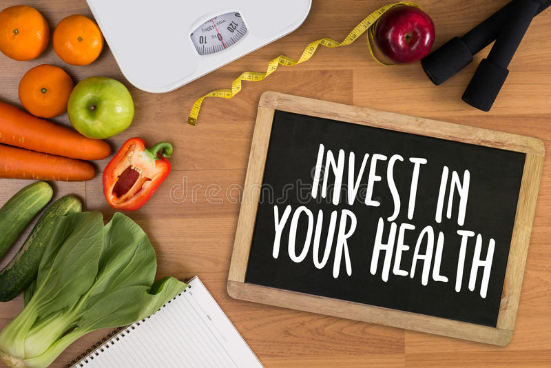 Invest in your health , Healthy lifestyle concept with diet and stock photos