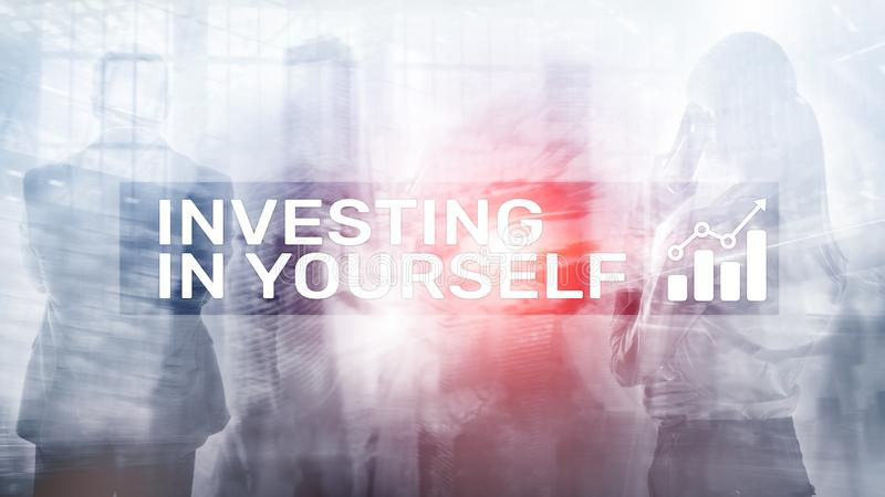 Invest in yourself. Personal development and education concept on abstract blurred background. Invest in yourself. Personal development and education concept on stock image