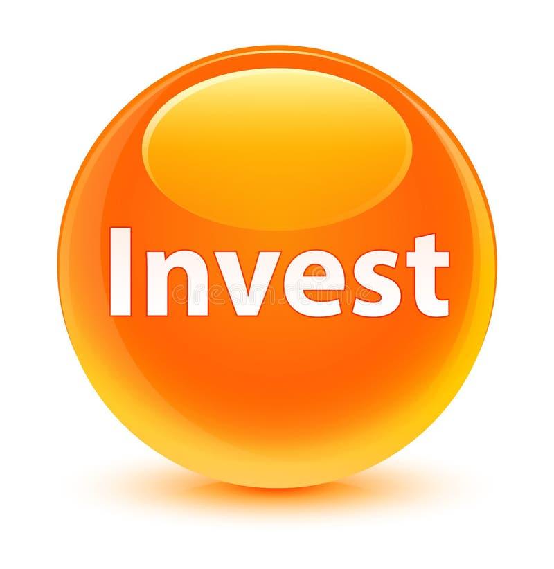 Investa il bottone rotondo arancio vetroso illustrazione vettoriale