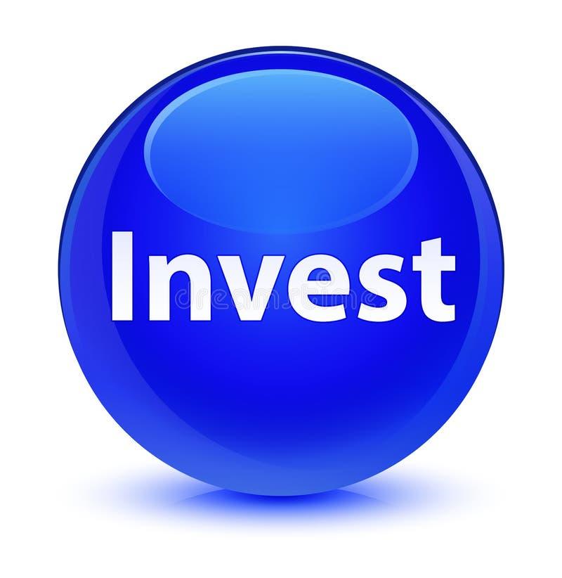Investa il bottone rotondo blu vetroso illustrazione vettoriale