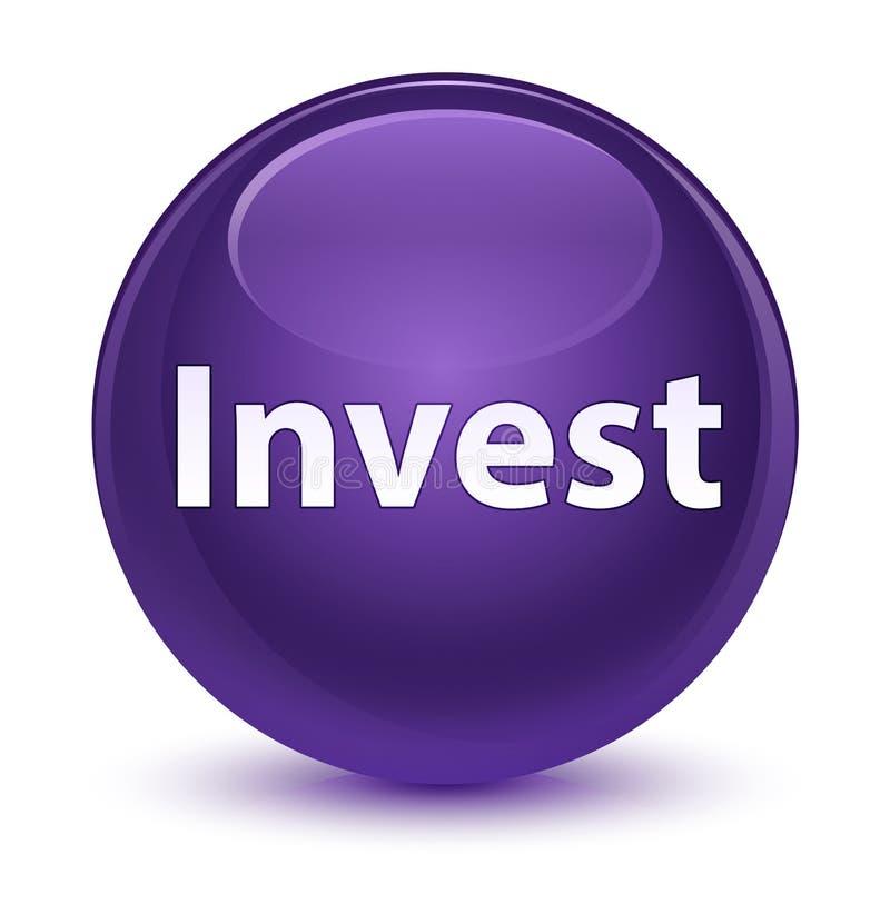 Investa il bottone rotondo porpora vetroso illustrazione vettoriale