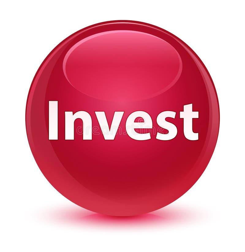 Investa il bottone rotondo rosa vetroso illustrazione di stock