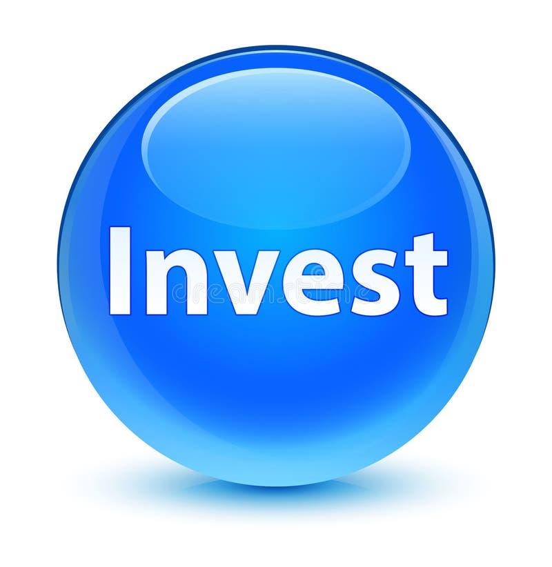 Investa il ciano bottone rotondo blu vetroso illustrazione di stock