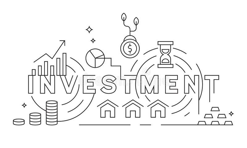 Investation Concept Thin Line Design. Business and Finance Theme Illustration. Black and White Geometric Lines. Banner or Backgrou. Business and Finance Theme royalty free illustration