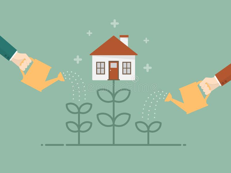 Investeer in de vectorillustratie van Real Estate royalty-vrije illustratie