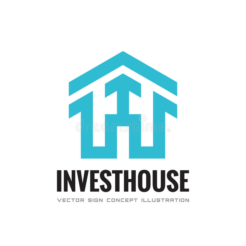 Investeer huis - vector het conceptenillustratie van het bedrijfsembleemmalplaatje Abstract de bouwhuis en pijlteken De huizen va stock illustratie