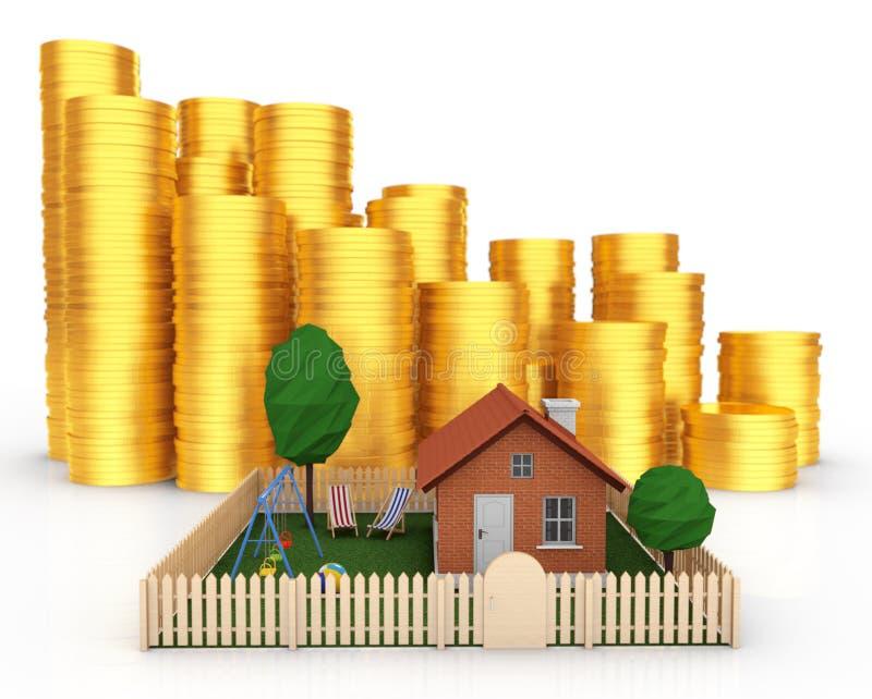 Investeer in onroerende goederenconcept Plattelandshuisje met Stapels Muntstukken stock illustratie