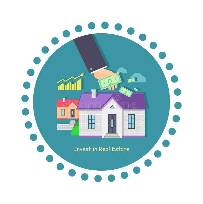 Investeer in Real Estate-Pictogram Vlak Ontwerp stock illustratie