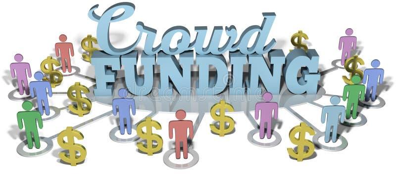 Investera för Crowdfunding USA folkstart royaltyfri illustrationer