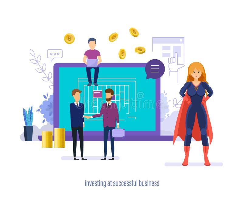 Investera på den lyckade affären Investeringar i utveckling av starter, innovation royaltyfri illustrationer