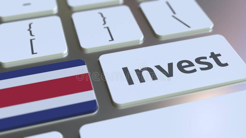 INVESTERA text och flaggan av Costa Rica på knapparna på datortangentbordet Affären gällde den begreppsmässiga tolkningen 3D stock illustrationer