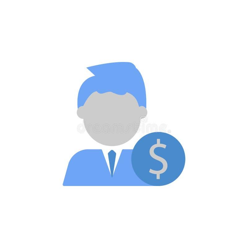 Investering, aktieägare, man, färgblått för pengar två och grå färgsymbol stock illustrationer