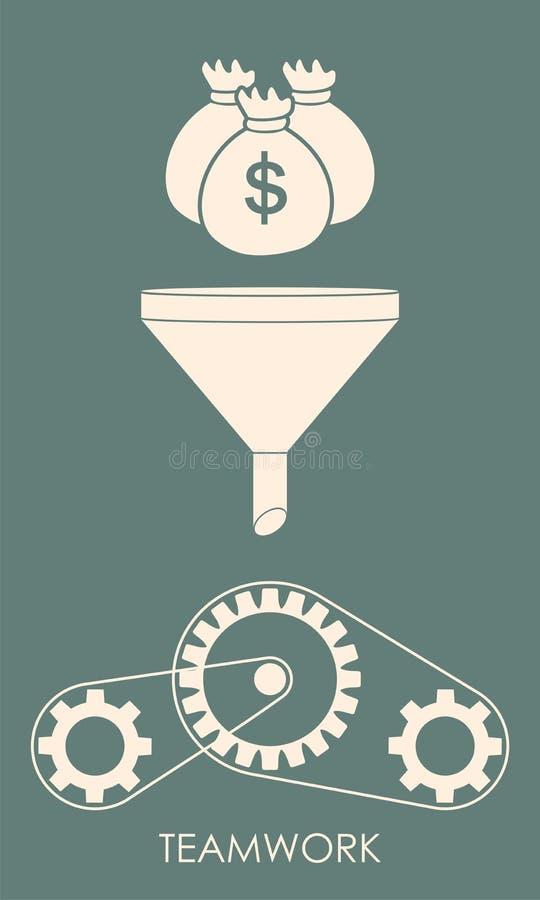 Investering en groepswerkconcept Geld die in de trechter c vallen vector illustratie