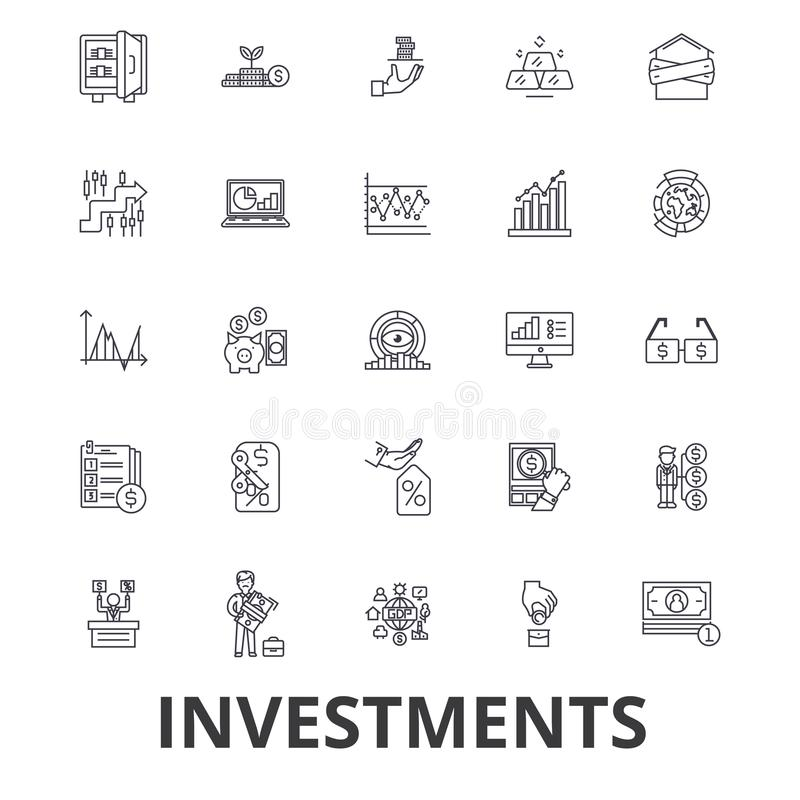 Investering, financiën, geld, investeerder, effectenbeurs, besparingen, zaken, de pictogrammen van de banklijn Editableslagen Vla stock illustratie