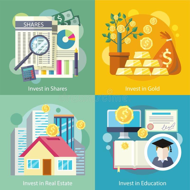 Investering i utbildningsguldegenskap royaltyfri illustrationer