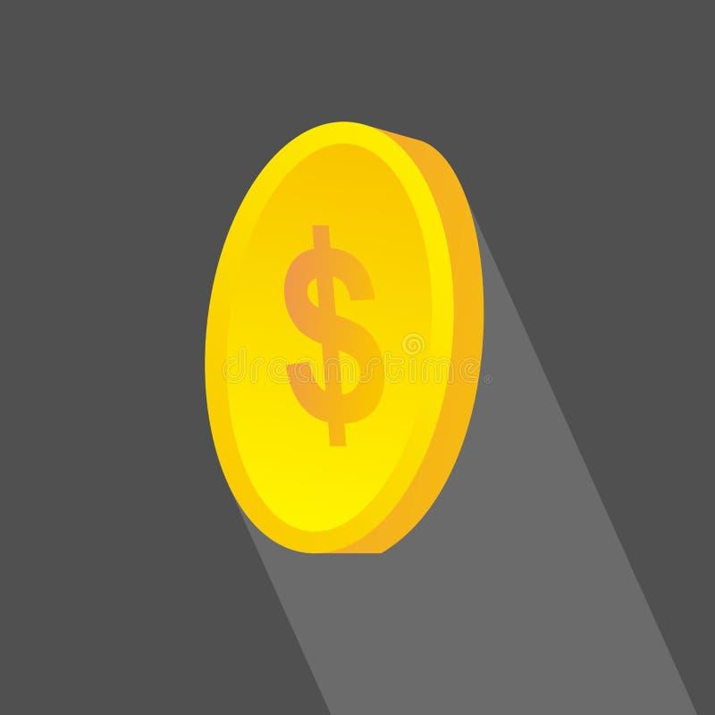 investering Muntstukkenpictogram, vlak ontwerp met lange schaduwen stock illustratie