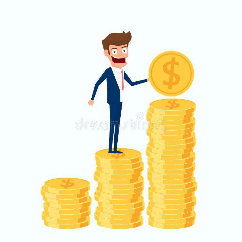 Investering- och besparingbegrepp Affärsman som rymmer det guld- myntet och sätter i högen royaltyfri illustrationer