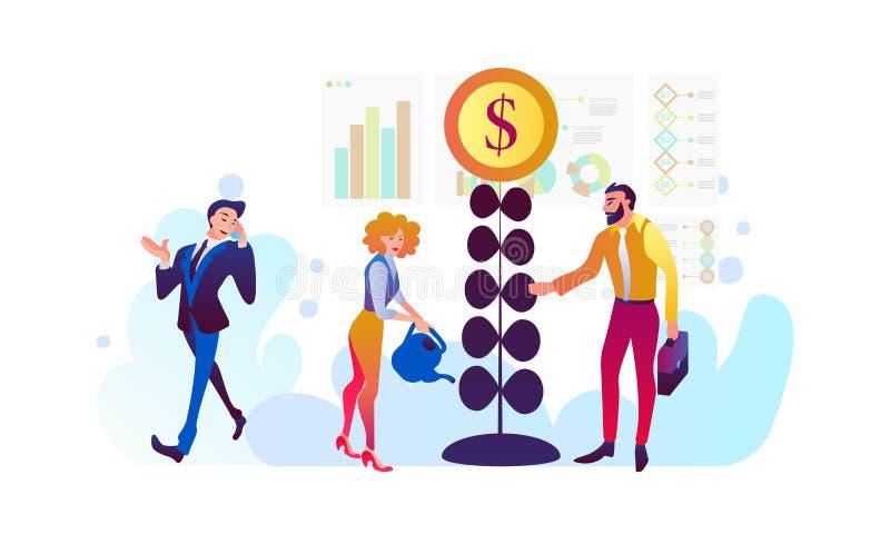 Investering och faktisk finans Kommunikation och samtidamarknadsf?ring Framtida apparater som arbetar på investeringar vektor illustrationer