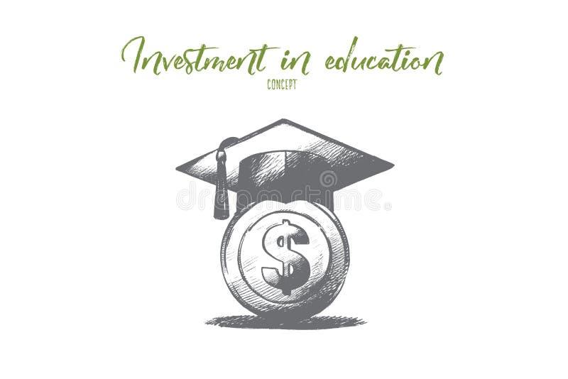 investering in onderwijsconcept Geïsoleerdeh getrokken hand stock illustratie