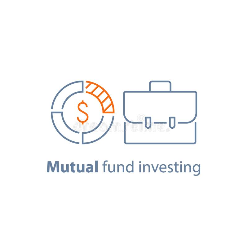 Investering op lange termijn, financiële zekerheid, wederzijds fondsbeheer, collectieve financiën, dividendbetaling vector illustratie