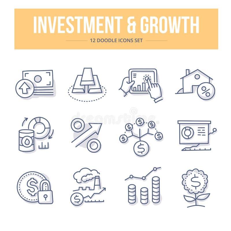 Investering- & tillväxtklottersymboler stock illustrationer