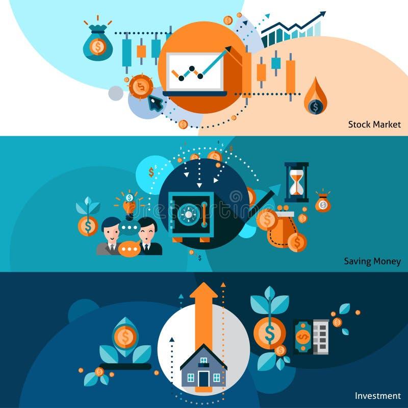 Investeringbaneruppsättning stock illustrationer