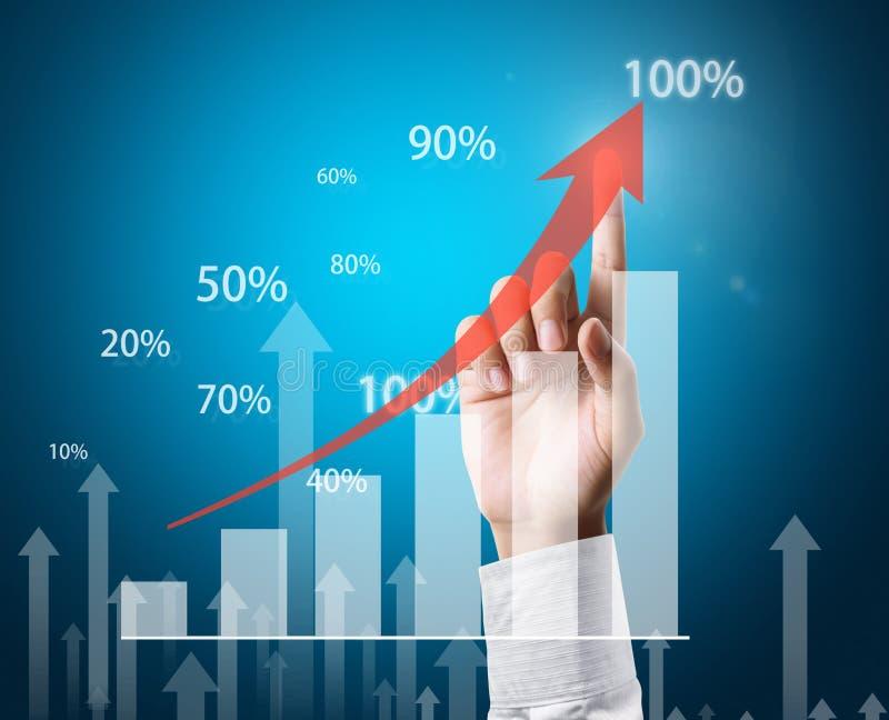Investeringbegrepp, affärsman med finansiella symboler som kommer för royaltyfri illustrationer